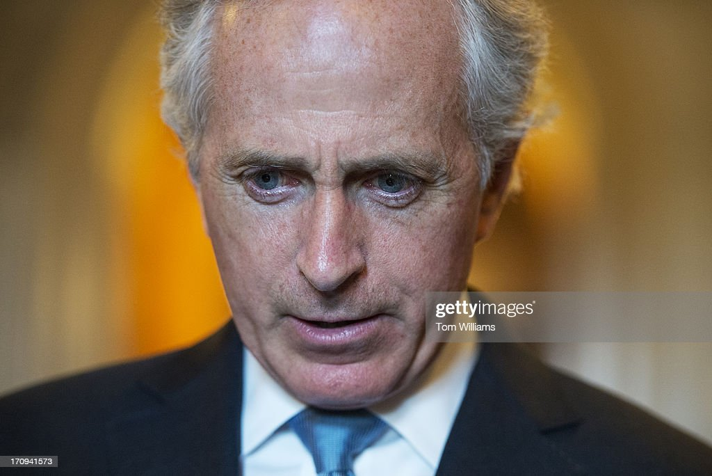 Sen. Bob Corker, R-Tenn., speaks with reporters in the Capitol about the immigration reform bill in the Senate.