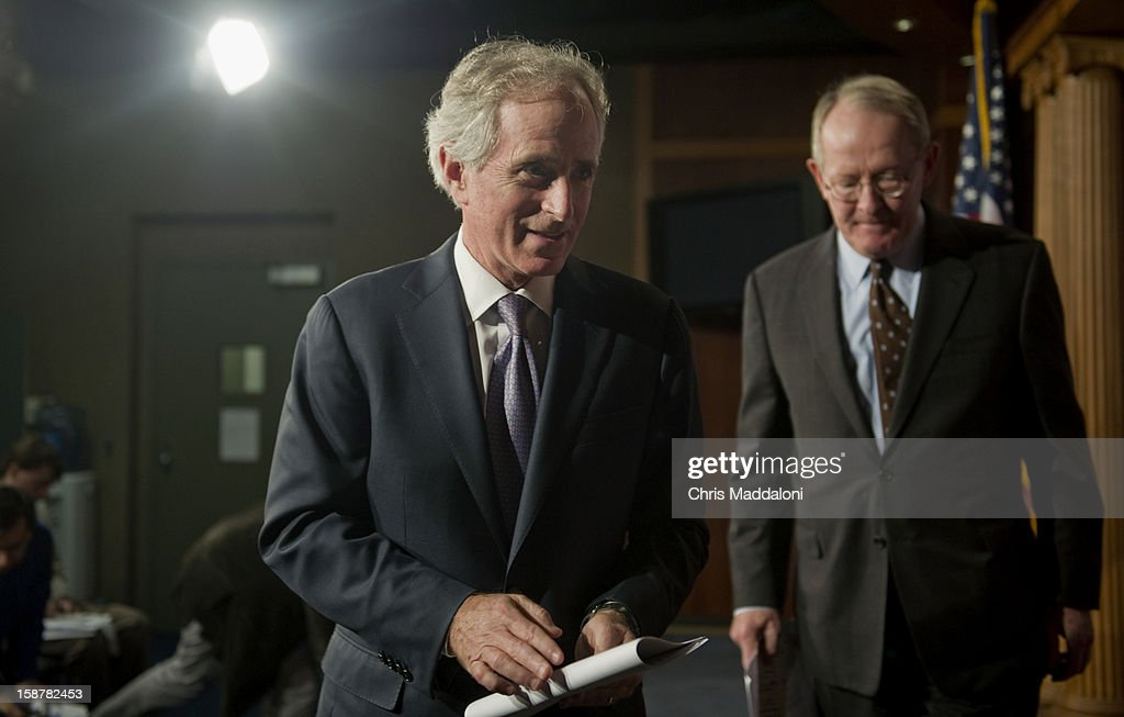 Sen. Bob Corker, R-Tn., and Sen. Lamar Alexander, R-Tn., leave a press conference to talk about their alternatives to the Democrat's approach to solving the 'Fiscal Cliff.'
