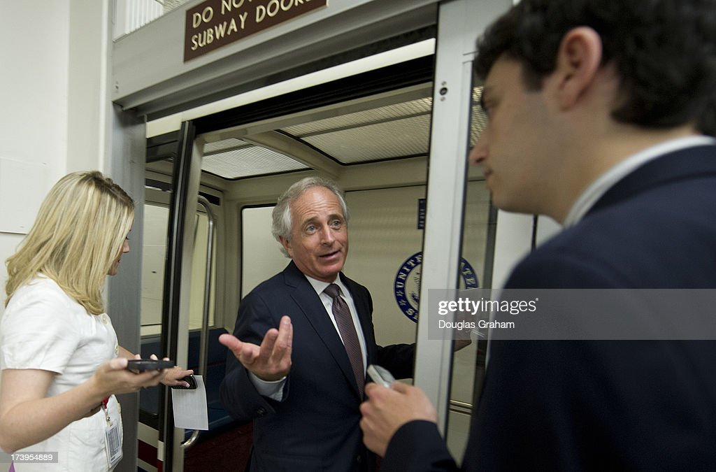 Sen. Bob Corker, R-TN., makes his way to the Senate policy luncheons through the Senate subway in the U.S. Capitol on July 18, 2013.