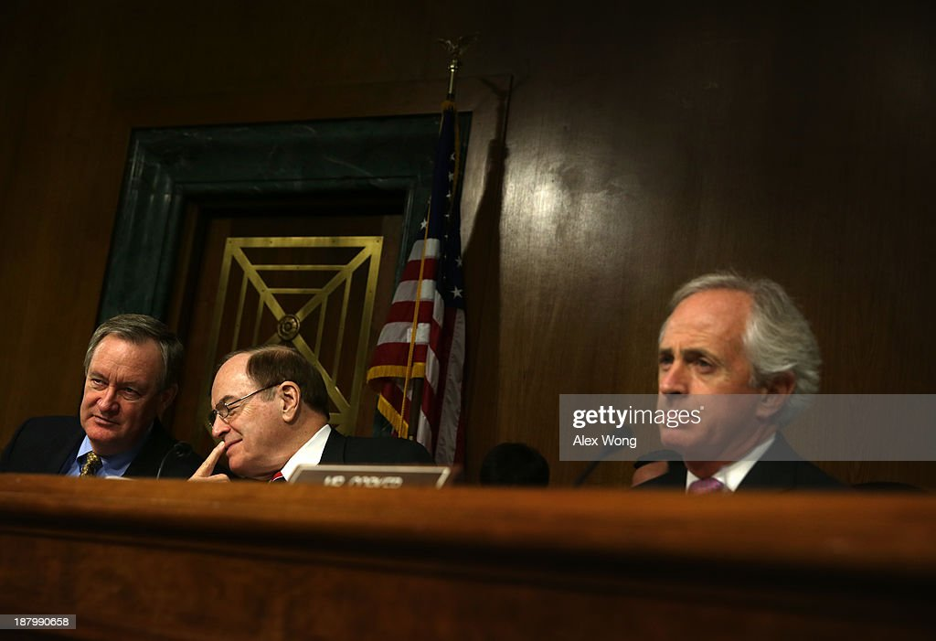 U.S. Sen. Bob Corker (R-TN), Sen. Richard Shelby (R-AL), and committee ranking member Sen. Mike Crapo (R-ID) listen during a confirmation hearing for Nominee for the Federal Reserve Board Chairman Janet Yellen (3rd L) before Senate Banking, Housing and Urban Affairs Committee November 14, 2013 on Capitol Hill in Washington, DC. Yellen will be the first woman to head the Federal Reserve if confirmed by the Senate and will succeed Ben Bernanke.