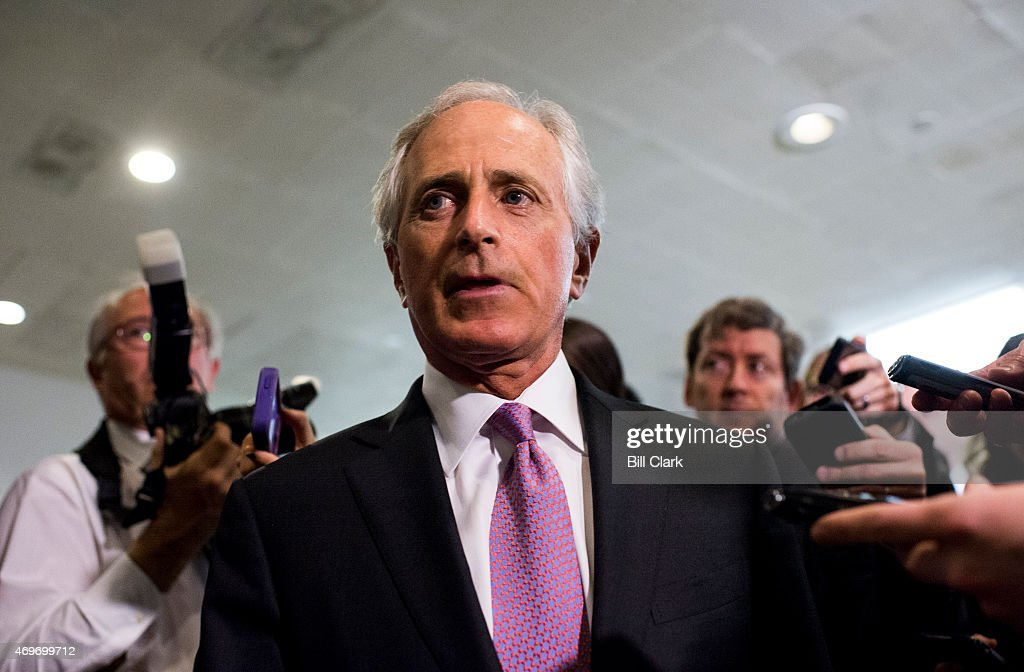 Sen. <a gi-track='captionPersonalityLinkClicked' href=/galleries/search?phrase=Bob+Corker&family=editorial&specificpeople=3986296 ng-click='$event.stopPropagation()'>Bob Corker</a>, Senate Foreign Relations chairman, arrives for a briefing on Iran nuclear negotiations with Secretary of State John Kerry and President Obama's chief of staff <a gi-track='captionPersonalityLinkClicked' href=/galleries/search?phrase=Jack+Lew&family=editorial&specificpeople=2745013 ng-click='$event.stopPropagation()'>Jack Lew</a> in the Capitol on Tuesday, April 14, 2015.