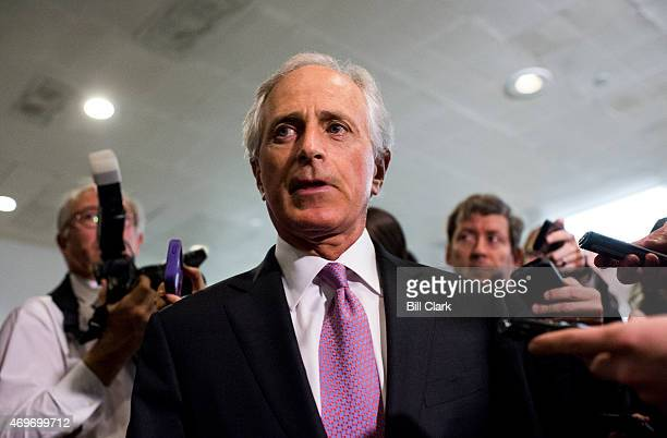 Sen Bob Corker Senate Foreign Relations chairman arrives for a briefing on Iran nuclear negotiations with Secretary of State John Kerry and President...