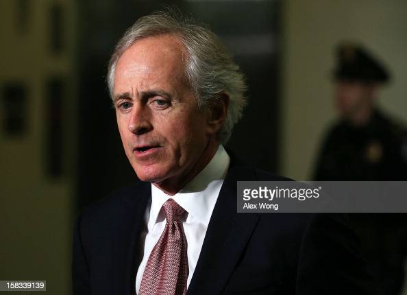 S Sen Bob Corker speaks to members of the media after leaving a closeddoor briefing on the attacks in Benghazi Libya December 13 2012 on Capitol Hill...