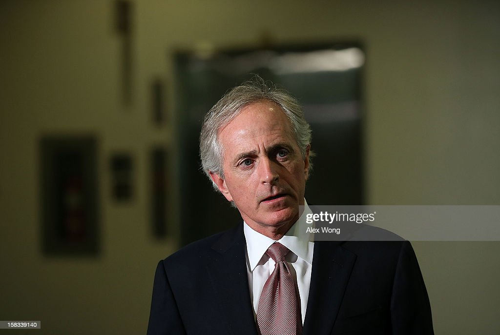 U.S. Sen. Bob Corker (R-TN) speaks to members of the media after leaving a closed-door briefing on the attacks in Benghazi, Libya, December 13, 2012 on Capitol Hill in Washington, DC. U.S. Ambassador to the United Nations Susan Rice, perceived as the top pick of the Obama Administration for Secretary of State, today withdrew her name from consideration amid criticism over her statements following the attacks on September 11 of this year.