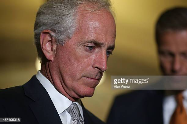 S Sen Bob Corker speaks to members of the media after the weekly Senate Republican Policy Luncheon at the Capitol September 9 2015 in Washington DC...