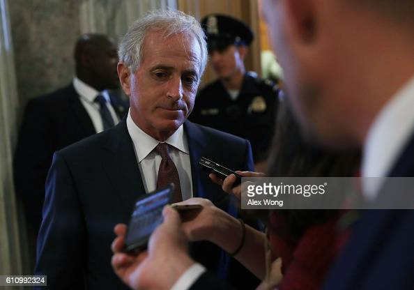 S Sen Bob Corker speaks to members of the media at the Capitol September 28 2016 in Washington DC The Senate has voted to override President ObamaÕs...