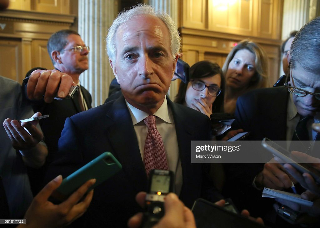 Sen. Bob Corker (R-TN) speaks to reporters about President Trump's firing of FBI Director James Comey, on Capitol Hill May 10, 2017 in Washington, DC.