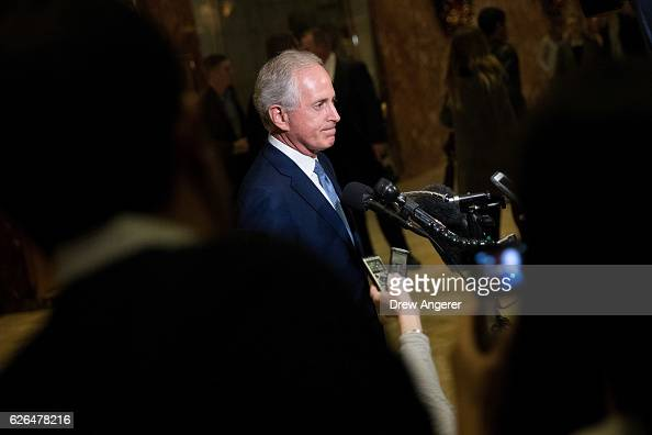 Sen Bob Corker speaks to reporters after meeting with Presidentelect Donald Trump at Trump Tower November 29 2016 in New York City Presidentelect...