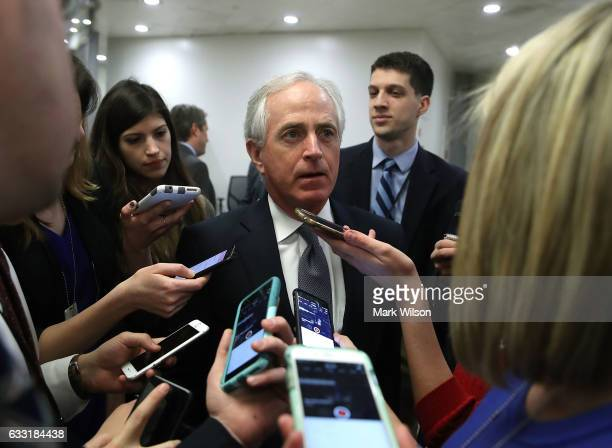 Sen Bob Corker speaks to reporters while going to the Senate Chamber for a vote on Capitol Hill January 31 2017 in Washington DC The Senate voted 936...