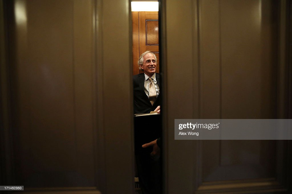 S Sen Bob Corker takes an elevator as he leaves after a vote on the Senate floor June 24 2013 on Capitol Hill in Washington DC The Senate had passed...