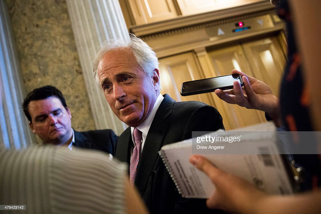 Sen Bob Corker talks to reporters after leaving the Senate floor on Capitol Hill May 31 2015 in Washington DC The National Security Agency's...