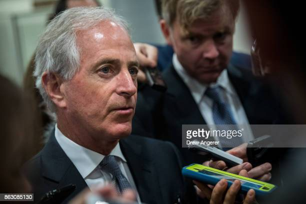 Sen Bob Corker talks to reporters as he heads to a vote on amendments to the fiscal year 2018 budget resolution on Capitol Hill October 19 2017 in...