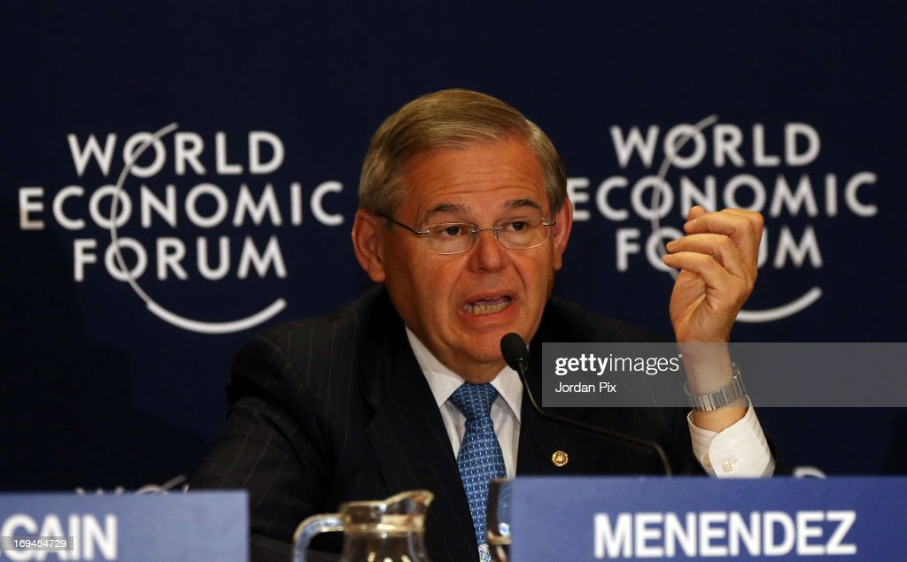 U.S. Sen. Bob Menendez (D-NJ), Chairman of the Senate Foreign Relations Committee, addresses the World Economic Forum on the Middle East and North Africa 2013 on May 25, 2013, in Dead Sea, Jordan. The forum runs May 24-26 and is being participated by 23 countries, under the theme of 'Advancing Conditions for Growth and Resilience.'