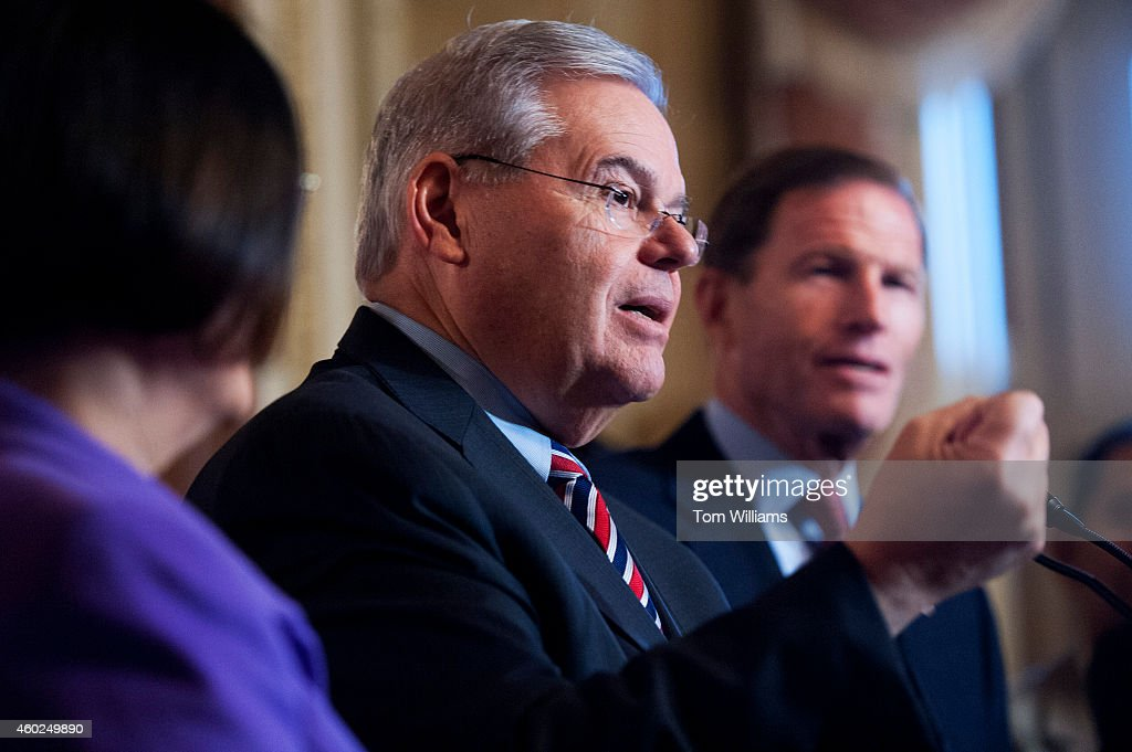 Sen. Bob Menendez, D-N.J., speaks at a news conference in the Capitol along with families impacted by President Obama's executive action on undocumented immigrants and to call on Republicans to pass immigration legislation, December 10, 2014. Sens. <a gi-track='captionPersonalityLinkClicked' href=/galleries/search?phrase=Mazie+Hirono&family=editorial&specificpeople=3461717 ng-click='$event.stopPropagation()'>Mazie Hirono</a>, D-Hawaii, and <a gi-track='captionPersonalityLinkClicked' href=/galleries/search?phrase=Richard+Blumenthal&family=editorial&specificpeople=1036916 ng-click='$event.stopPropagation()'>Richard Blumenthal</a>, D-Conn., also appear.