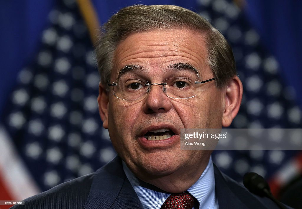 U.S. Sen. Bob Menendez (D-NJ) speaks during a news conference on immigration reform April 18, 2013 on Capitol Hill in Washington, DC. The senator discussed on the 'Border Security, Economic Opportunity, and Immigration Modernization Act' that have been released on Wednesday.