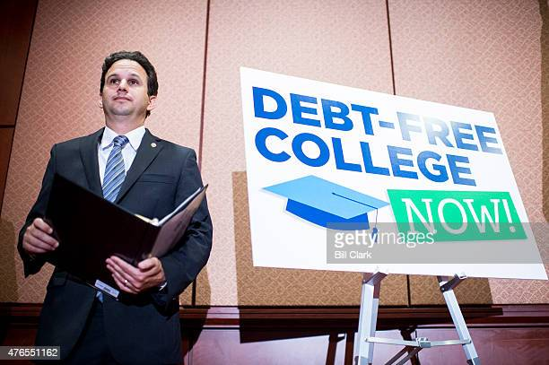 Sen Brian Schatz DHawaii participates in the press conference in the Capitol to call for the elimination of student loan debt at public higher...
