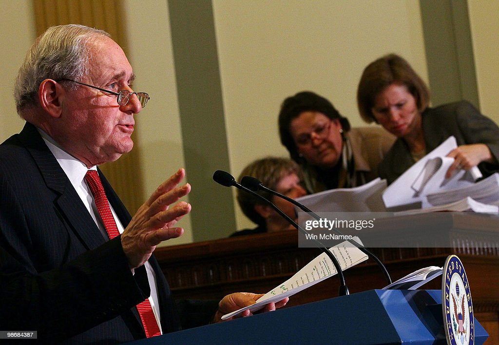 Sen. Carl Levin (D-MI) answers questions relating to the disclosure of Goldman Sachs internal emails April 26, 2010 in Washington, DC. Levin, a member of the the Senate Homeland Security and Governmental Affairs Committee's Investigations Subcommittee held a press conference prior to a hearing tomorrow on 'Wall Street and the Financial Crisis: The Role of Investment Banks.