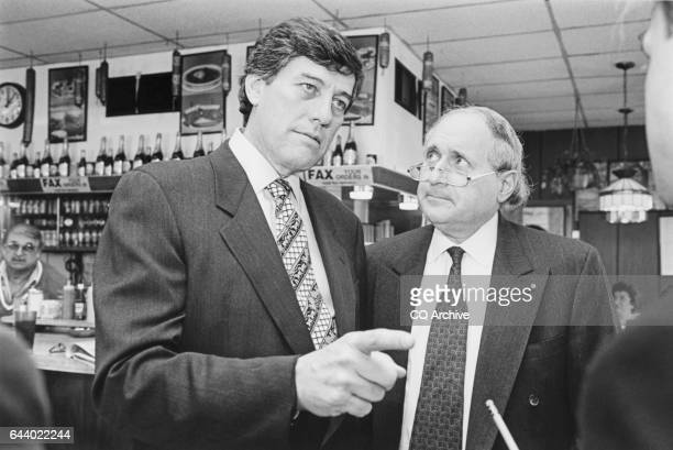 Sen Carl Levin DMich joins Rep Bob Carr DMich on campaign trail at Manny's Deli Restaurant Mount Clemens Michigan on October 13 1994 'n