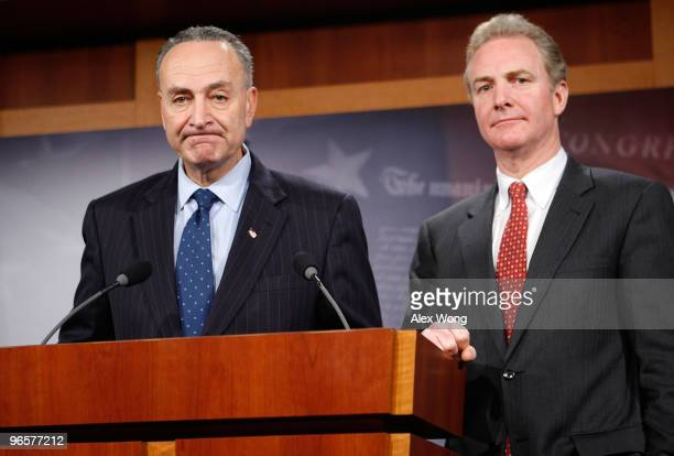 S Sen Charles Schumer and Rep Chris Van Hollen speak to the media during a news conference on Capitol Hill February 11 2010 in Washington DC Schumer...