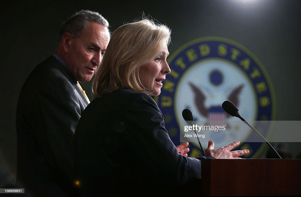 U.S. Sen. Charles Schumer (D-NY) (L) and Sen. Kirsten Gillibrand (D-NY) (R) speak to the media during a news conference January 4, 2013 on Capitol Hill in Washington, DC. Schumer and Gillibrand spoke on the passing of a small portion of the superstorm Sandy relief bill.