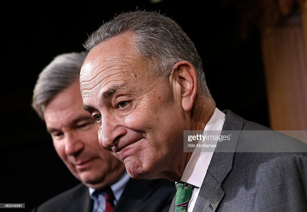 U.S. Sen. <a gi-track='captionPersonalityLinkClicked' href=/galleries/search?phrase=Charles+Schumer&family=editorial&specificpeople=171249 ng-click='$event.stopPropagation()'>Charles Schumer</a> (D-NY) (R) and Sen. <a gi-track='captionPersonalityLinkClicked' href=/galleries/search?phrase=Sheldon+Whitehouse&family=editorial&specificpeople=599442 ng-click='$event.stopPropagation()'>Sheldon Whitehouse</a> (D-RI) (L) speak during a press conference at the U.S. Capitol April 2, 2014 in Washington, DC. Schumer and Whitehouse spoke on the recent U.S. Supreme Court decision on campaign financing decided today in McCutcheon vs. F.E.C.