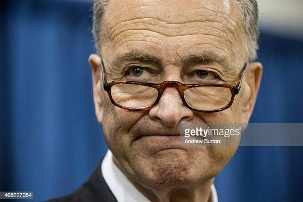 S Sen Charles Schumer attends a press conference announcing federal funding for Super Storm Sandy recovery efforts on March 31 2015 in New York City...