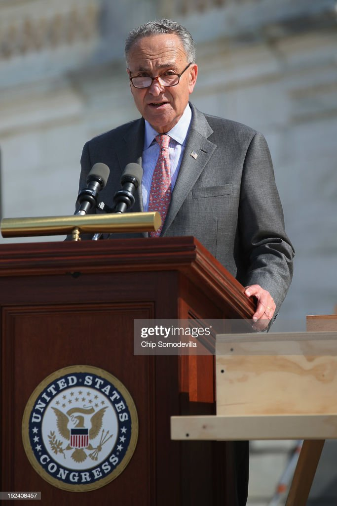 U.S. Sen. <a gi-track='captionPersonalityLinkClicked' href=/galleries/search?phrase=Charles+Schumer&family=editorial&specificpeople=171249 ng-click='$event.stopPropagation()'>Charles Schumer</a> (D-NY), chairman of the Joint Congressional Committee on Inaugural Ceremonies, delivers remarks during the 'First Nail' ceremony, signifying the start of construction of the 2013 Inaugural Platform on the West Front of the U.S. Capitol September 20, 2012 in Washington, DC. The winner of the November 6 presidential election will be sworn in on the platform on January 21, 2013.
