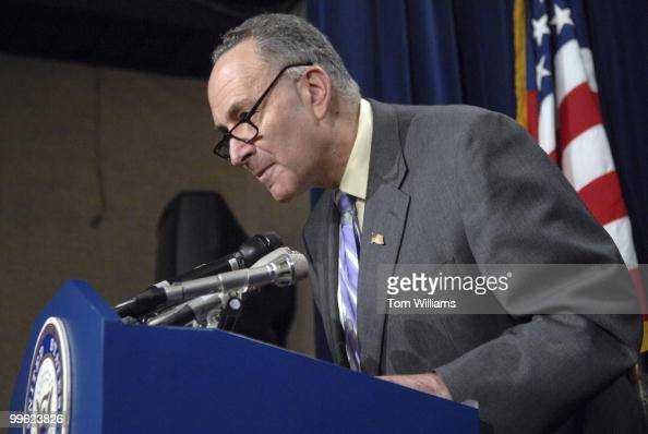 Sen Charles Schumer DNY conducts a news conference reacting to President Bush's remarks on the economy as well as addressing subprime mortgages...