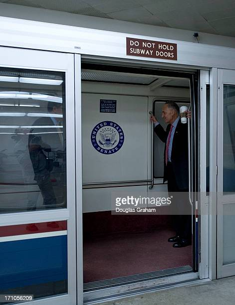 Sen Charles Schumer DNY heads back to his office in the Senate office buildings after attending meetings in the US Capitol on the immigration bill on...
