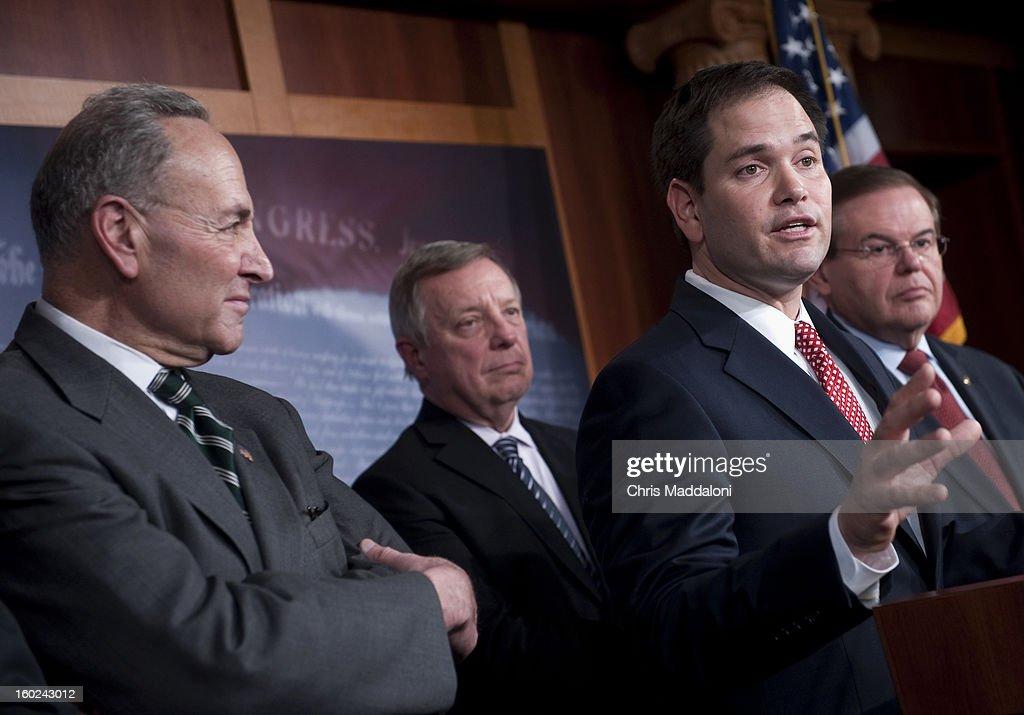 Sen. Charles Schumer, D-N.Y.; Sen. Dick Durbin, D-Ill.; Sen. Robert Menendez, D-N.J.; and Sen. Marco Rubio, R-Fl., speak a news conference to announce bi-partisan agreement on the principals on a comprehensive immigration reform bill.