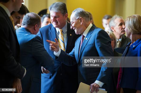 Sen Charles Schumer DNY Senate minority leader for the 115th Congress leaves the Senate Democratic Caucus leadership elections in the Capitol...