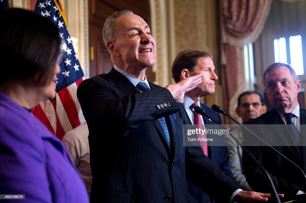 Sen. <a gi-track='captionPersonalityLinkClicked' href=/galleries/search?phrase=Charles+Schumer&family=editorial&specificpeople=171249 ng-click='$event.stopPropagation()'>Charles Schumer</a>, D-N.Y., speaks at a news conference in the Capitol along with families impacted by President Obama's executive action on undocumented immigrants and to call on Republicans to pass immigration legislation, December 10, 2014. Senate Majority Whip Richard Durbin, D-Ill., right, Sens. <a gi-track='captionPersonalityLinkClicked' href=/galleries/search?phrase=Mazie+Hirono&family=editorial&specificpeople=3461717 ng-click='$event.stopPropagation()'>Mazie Hirono</a>, D-Hawaii, and <a gi-track='captionPersonalityLinkClicked' href=/galleries/search?phrase=Richard+Blumenthal&family=editorial&specificpeople=1036916 ng-click='$event.stopPropagation()'>Richard Blumenthal</a>, D-Conn., also appear.
