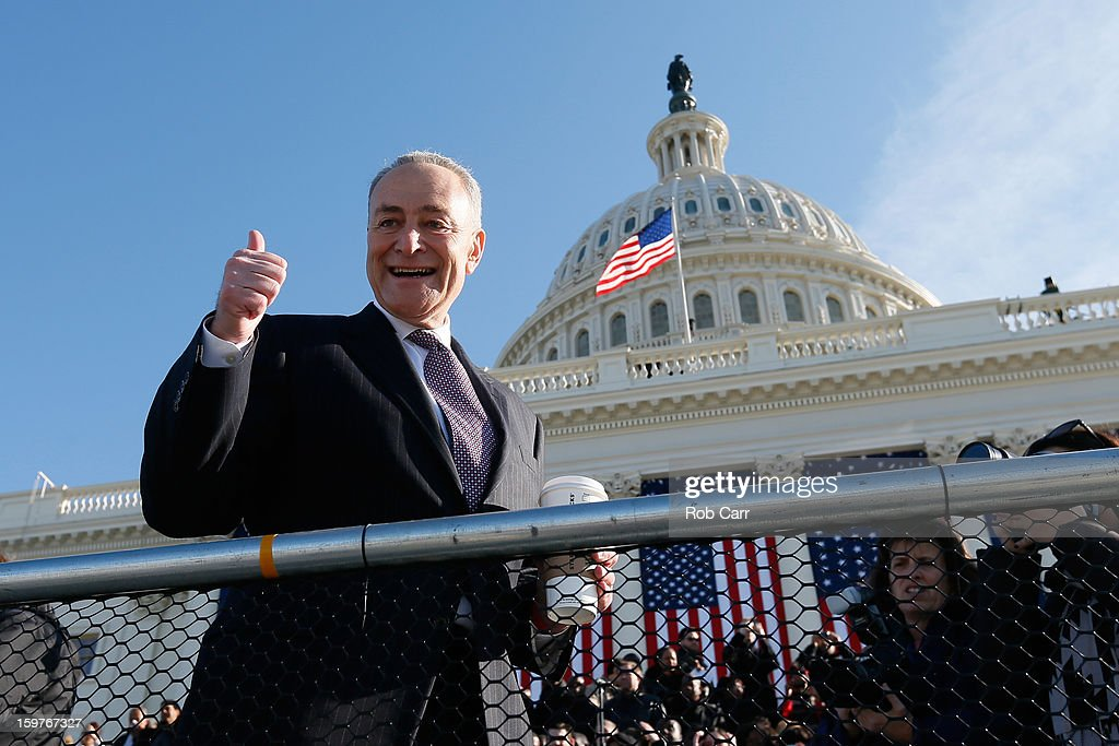 U.S. Sen. Charles Schumer (D-NY) greets people at the U.S. Capitol building as Washington prepares for U.S. President Barack Obama's second inauguration on January 20, 2013 in Washington, DC. Both Obama and U.S. Vice President Joe Biden will be officially sworn in today with a public ceremony for the President taking place on January 21.