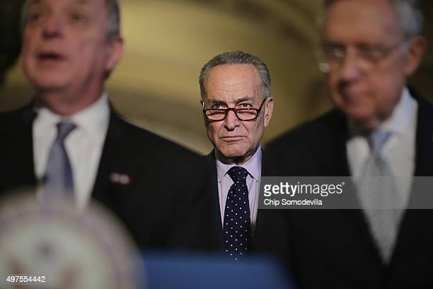 Sen Charles Schumer joins Senate Minority Whip Richard Durbin and Senate Majority Leader Harry Reid following the weekly Senate Democratic policy...