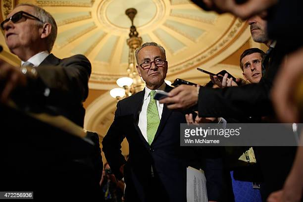 Sen Charles Schumer listens to questions from reporters following the weekly Democratic caucus policy luncheon at the US Capitol May 5 2015 in...