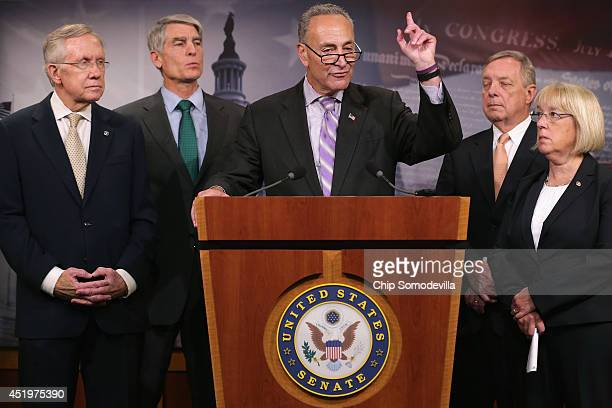 Sen Charles Schumer speaks during a news conference to announce they will fasttrack new legislation to prevent forprofit employers from refusing to...