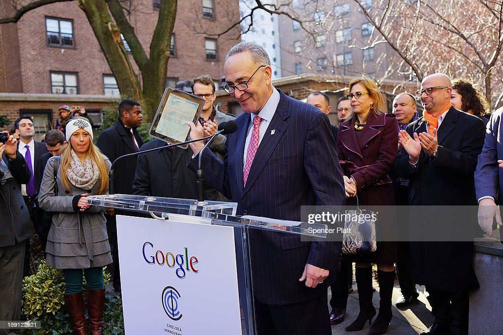 U.S. Sen. <a gi-track='captionPersonalityLinkClicked' href=/galleries/search?phrase=Charles+Schumer&family=editorial&specificpeople=171249 ng-click='$event.stopPropagation()'>Charles Schumer</a> (D-NY) speaks during a news conference where it was announced that free Wi-Fi will be provided by Google to the Manhattan neighborhood of Chelsea on January 8, 2013 in New York City. Google has teamed up with the Chelsea Improvement Project, a local New York City non-profit and the city government to provide free Wi-Fi to the historic neighborhood. The network will become the largest public outdoor service of its kind in New York, and the first neighborhood in the city with free WiFi.