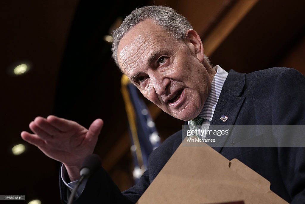 Sen. <a gi-track='captionPersonalityLinkClicked' href=/galleries/search?phrase=Charles+Schumer&family=editorial&specificpeople=171249 ng-click='$event.stopPropagation()'>Charles Schumer</a> (D-NY) speaks during a press conference at the U.S. Capitol March 17, 2015 in Washington, DC. A group of Democratic senators spoke to members of the press on the delayed confirmation of Attorney General nominee Loretta Lynch in the U.S. Senate.