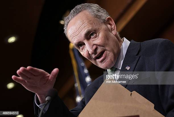 Sen Charles Schumer speaks during a press conference at the US Capitol March 17 2015 in Washington DC A group of Democratic senators spoke to members...