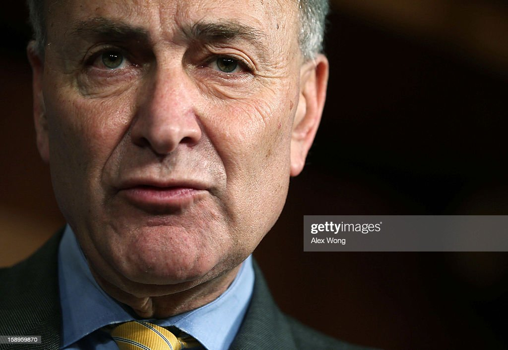 U.S. Sen. <a gi-track='captionPersonalityLinkClicked' href=/galleries/search?phrase=Charles+Schumer&family=editorial&specificpeople=171249 ng-click='$event.stopPropagation()'>Charles Schumer</a> (D-NY) speaks to the media during a news conference January 4, 2013 on Capitol Hill in Washington, DC. Schumer and Sen. <a gi-track='captionPersonalityLinkClicked' href=/galleries/search?phrase=Kirsten+Gillibrand&family=editorial&specificpeople=4099377 ng-click='$event.stopPropagation()'>Kirsten Gillibrand</a> (D-NY) held a news conference to speak on the passing of a small portion of the superstorm Sandy relief bill.