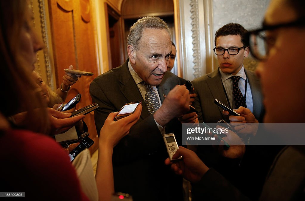 U.S. Sen. <a gi-track='captionPersonalityLinkClicked' href=/galleries/search?phrase=Charles+Schumer&family=editorial&specificpeople=171249 ng-click='$event.stopPropagation()'>Charles Schumer</a> (D-NY) speaks with reporters following the weekly policy luncheon for Senate Democrats April 8, 2014 in Washington, DC. Senate Democrats and Republicans are currently discussing legislation proposed by each side to alleviate a gap in wages between men and women.