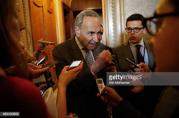 S Sen Charles Schumer speaks with reporters following the weekly policy luncheon for Senate Democrats April 8 2014 in Washington DC Senate Democrats...
