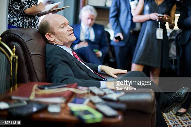 Sen Chris Coons DDel conducts a pen and pad briefing in the Capitol's Senate Press Gallery on the markup of the Iran Nuclear Agreement Review Act in...