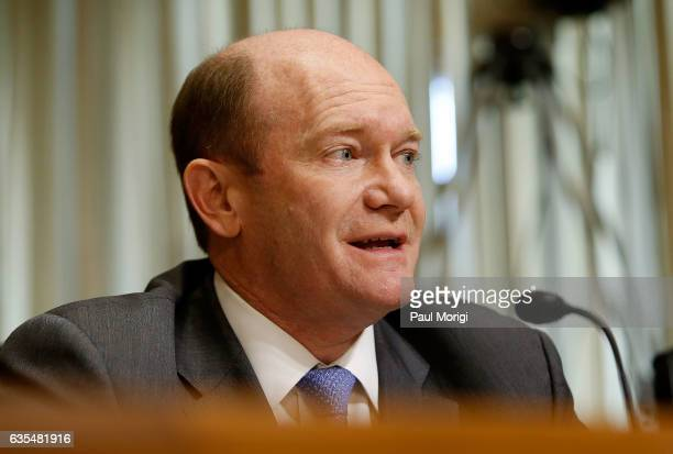 Sen Chris Coons speaks at a Senate Foreign Relations Committee hearing on Ending Modern Slavery Building on Success at Dirksen Senate Office Building...