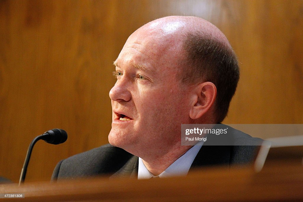 Sen. Chris Coons (D-DE) speaks at a U.S. Senate Appropriations State, Foreign Operations, and Related Programs Subcommittee hearing on Global Health Programs to urge critical support in global fight against HIV/AIDS at the Senate Dirksen Building on May 6, 2015 in Washington, DC.