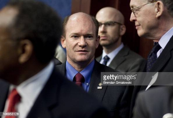 S Sen Chris Coons the freshman senator who is taking the old US Senate seat of US Vice President Joe Biden arrives for a press conference on Capitol...