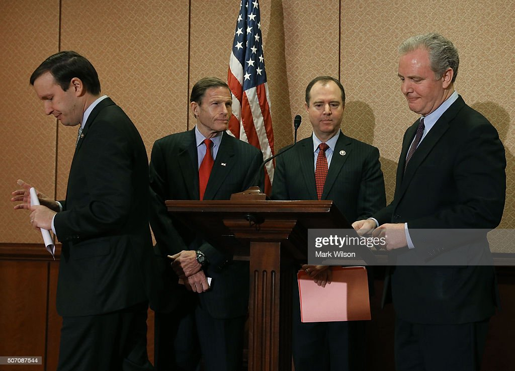 , Sen. Chris Murphy (D-CT), Sen. Richard Blumenthal (D-CT), Rep. Adam Schiff (D-CA), and Rep. Chris Van Hollen (D-MD), participate in a news conference to discuss legislation on gun safety, on Capitol Hill January 27, 2016 in Washington, DC. The Senators introduced legislation to ensure that the victims of gun violence are allowed to have their day in court and that the gun industry manufacturers, sellers and interest groups are not shielded from liability when it acts with negligence and disregard for public safety.