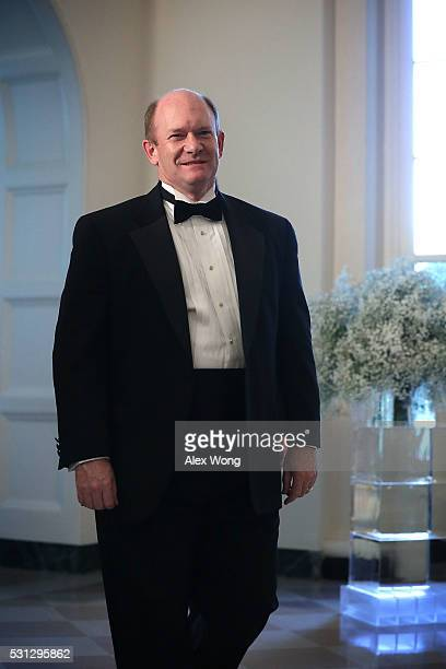 S Sen Christopher Coons arrives at a Nordic State Dinner May 13 2016 at the White House in Washington DC President Barack Obama and the first lady...