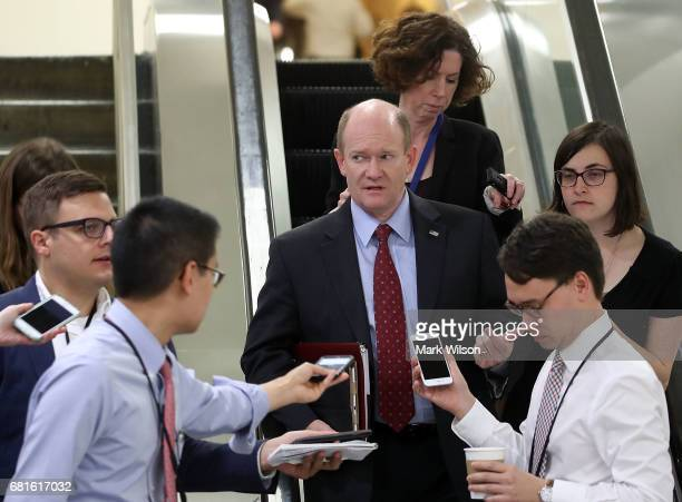 Sen Christopher Coons speaks to reporters about President Trump's firing of FBI Director James Comey on Capitol Hill May 10 2017 in Washington DC
