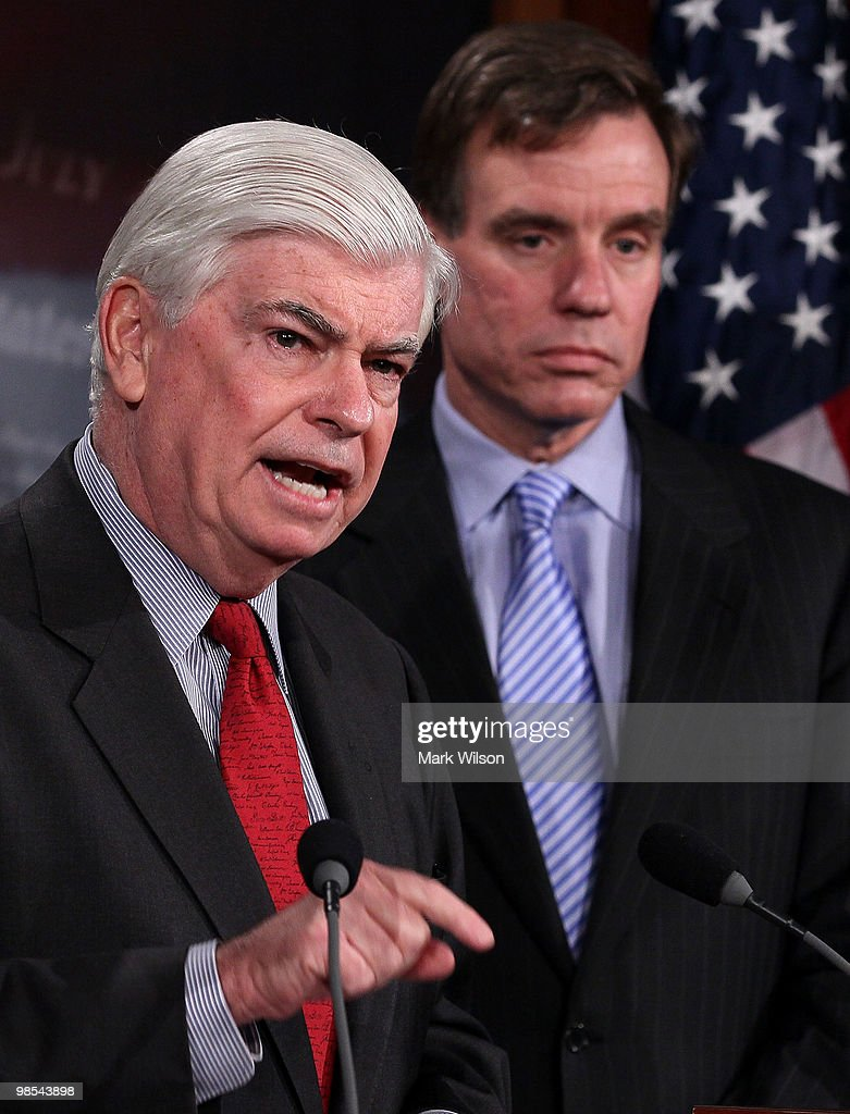 Sen. <a gi-track='captionPersonalityLinkClicked' href=/galleries/search?phrase=Christopher+Dodd+-+Politician&family=editorial&specificpeople=207036 ng-click='$event.stopPropagation()'>Christopher Dodd</a> (D-CT) (L) and Sen. <a gi-track='captionPersonalityLinkClicked' href=/galleries/search?phrase=Mark+Warner&family=editorial&specificpeople=2251151 ng-click='$event.stopPropagation()'>Mark Warner</a> (D-VA) participate in a news conference on April 19, 2010 in Washington, DC. Senate Banking Chairman Dodd spoke about legislation that is before Congress to overhaul the financial regulatory system.